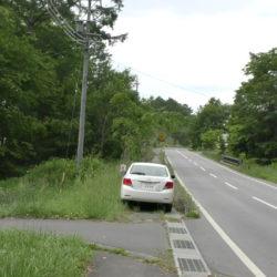 舗装道路の角地