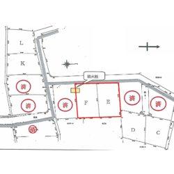 E、F区画を合わせた面積が374坪です。奥まっており静かな雰囲気です